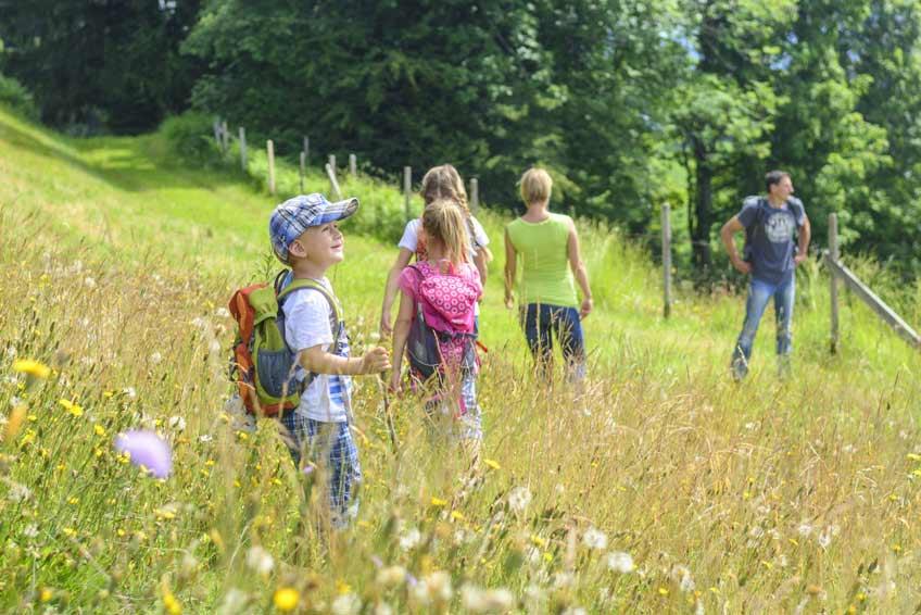 Familie spaziert auf Wiese in Oberhof